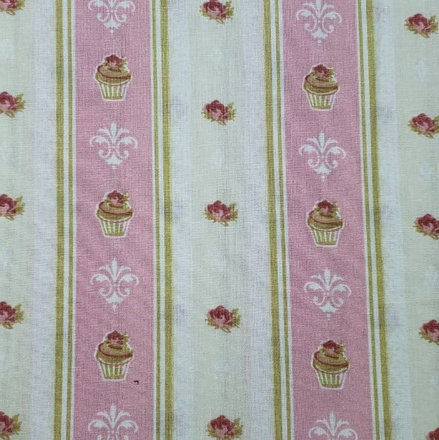 Tricoline - Cupcake - Listras Rosas - Listrado - Fabricart