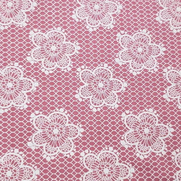 Tricoline - Floral Rendado - fundo rosa - Fabricart