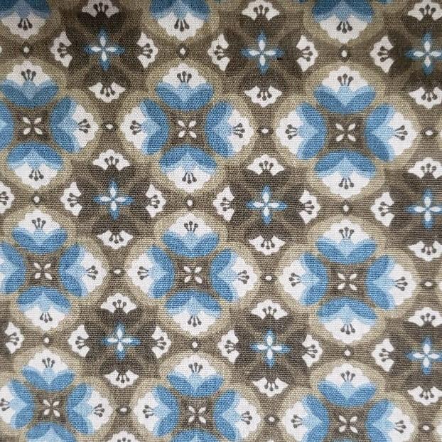 Tricoline - Flores - Fundo Azul e Bege - Fabricart