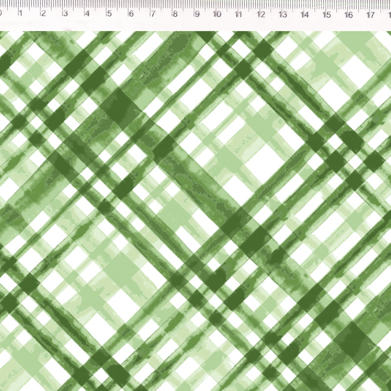 Tecido Tricoline - Xadrez enviesado verde oliva - Põe Na Mesa Decor - Fernando Maluhy