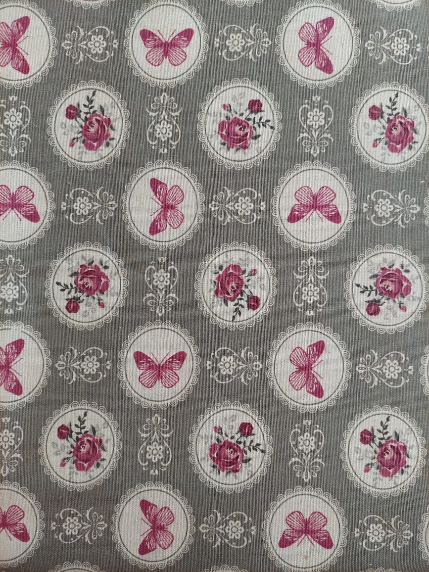 Tecido linho misto - flores e borboletas - fundo cinza - Ibirapuera Textil