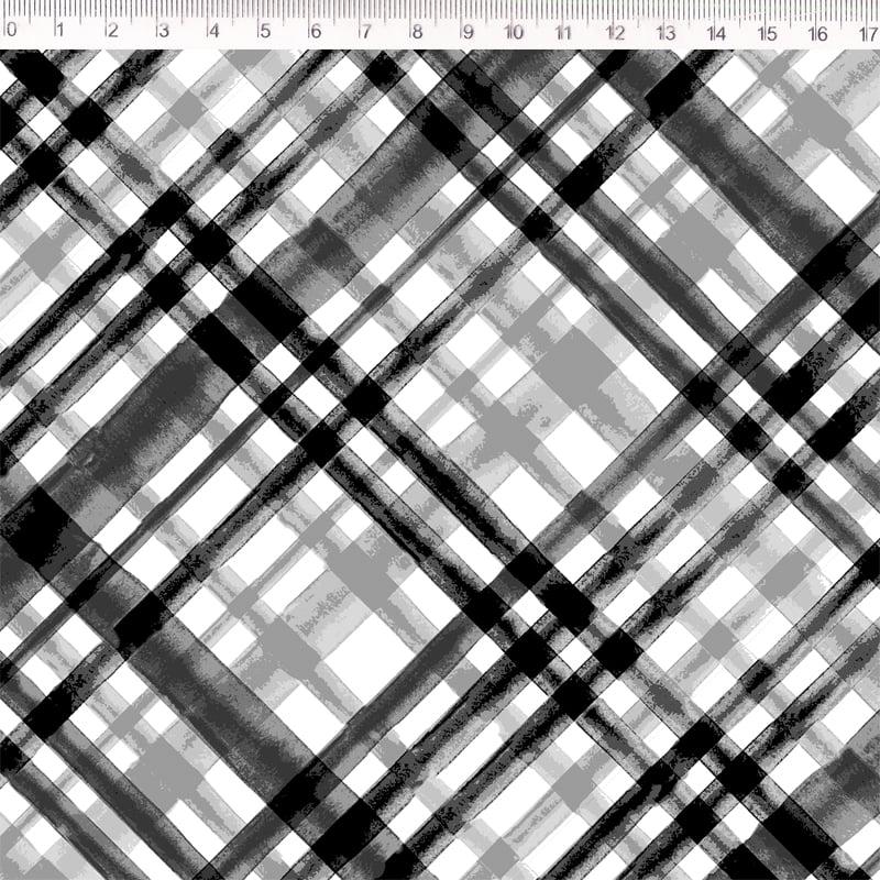 Tecido sarja - xadrez enviesado  - cinza chumbo - Poe na Mesa Decor - Fernando Maluhy