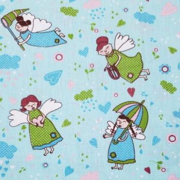 Tricoline - Menininhas - Fadas - fundo azul - Fabricart