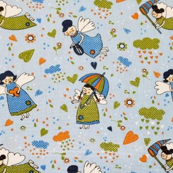 Tricoline - Menininhas - Fadas azul e verde - fundo azul - Fabricart
