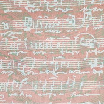 Tricoline - Nota Musical - Fundo Pêssego - Fabricart