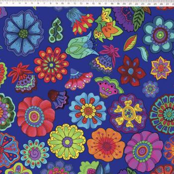 Flores médias fundo Azul - Coleção Marina Landi & Valeria Cervetto - Fernando Maluhy