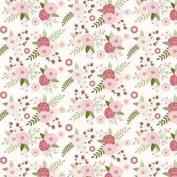 Tricoline - Floral - fundo branco liso - Coleção Signature Shabby - Fabricart
