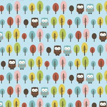 Corujas e árvores fundo azul - Coleção Signature Corujas - Fabricart