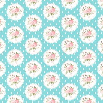 Tricoline - Floral com poá - Coleção Signature Shabby - Fabricart