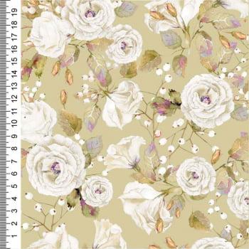 Tricoline Digital - Floral - Coleção Colômbia Rosas Brancas - CrisMazzer