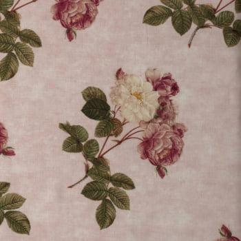 Tricoline - Floral - flores grandes - branco e rosa - fundo rosa bebê - Importado