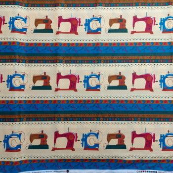 Tecido tricoline barrado costura -fundo caqui -  Coleção Love Sewing - Fernando Maluhy     -