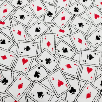 Tecido tricoline - cartas de baralho - fundo branco  - Fernando Maluhy