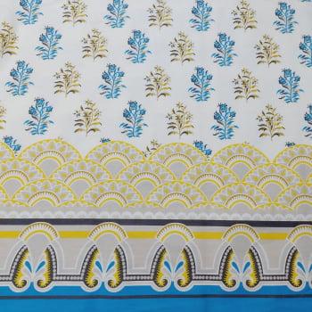 Tecido tricoline - Coleção Oriente - Divino Arranjo - Palácio barrado azul c/ cinza - Fernando Maluhy