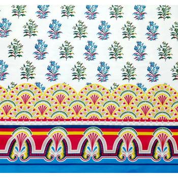 Tecido tricoline - Coleção Oriente - Divino Arranjo - Palácio barrado azul c/ vermelho - Fernando Maluhy