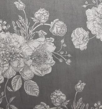 Tricoline - Floral - Flores Grandes - Cinza - CrisMazzer
