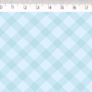 Tecido tricoline - xadrez enviesado - azul claro- Fernando Maluhy