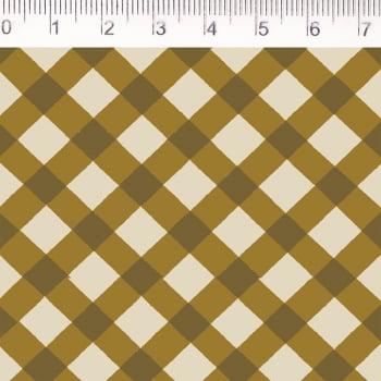 Tecido tricoline - xadrez enviesado - caqui - Fernando Maluhy