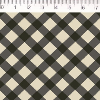Tecido tricoline - xadrez enviesado - cinza chumbo - Fernando Maluhy