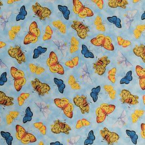 Tricoline - Borboletas - fundo azul claro - Importado