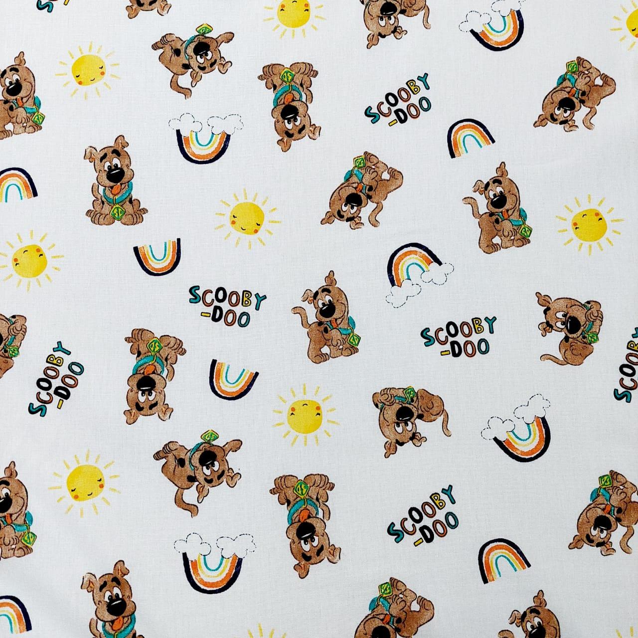 Tecido tricoline Coleção WB Scooby Doo  Baby - fundo off-white  -