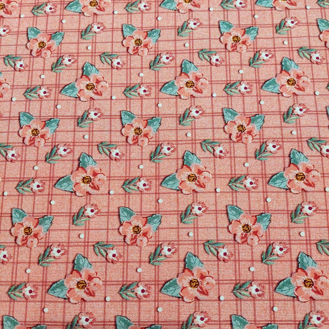 Tecido -  tricoline digital mini floral sweet rosê - Coleção Requinte - Fuxicos e Fricotes