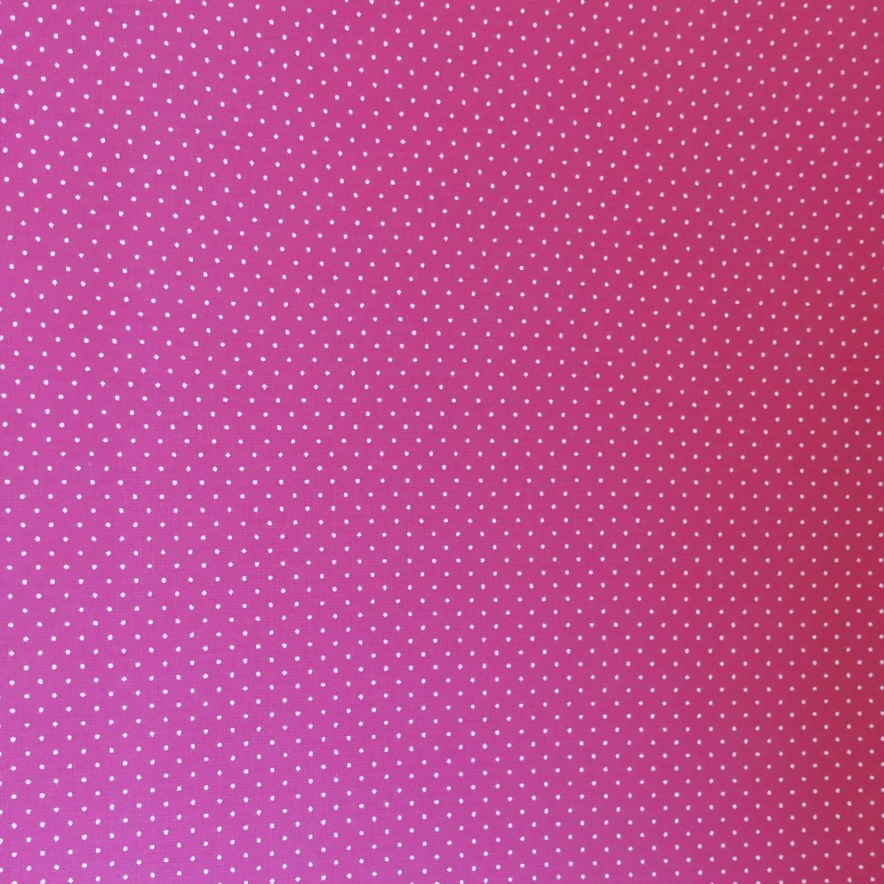 Tecido tricoline micro poá branco - fundo rosa pink - Fernando Maluhy
