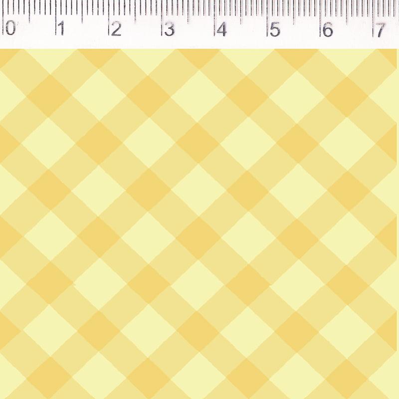 Tecido tricoline - xadrez enviesado - amarelo - Fernando Maluhy